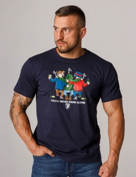 T-shirt Never Drink Alone Navy